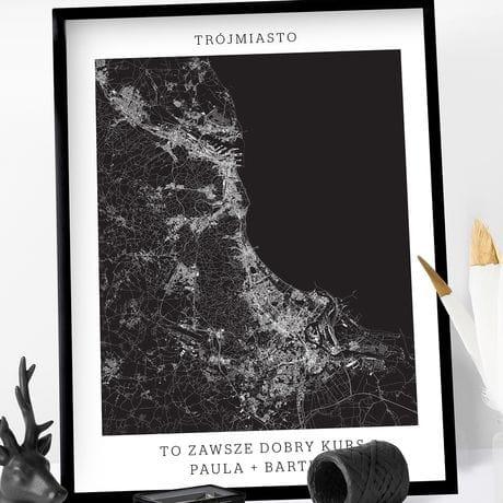 Plakat Personalizowany Mapa Miasta Trojmiasto