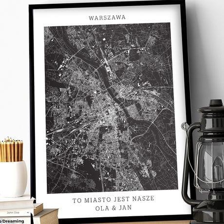Plakat Personalizowany Mapa Miasta Warszawa