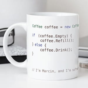 Kubek z napisem COFFEE SOFTWARE DEVELOPER prezent dla programisty
