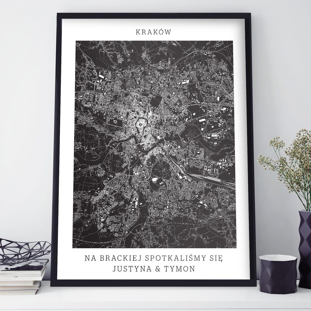 Plakat Personalizowany Mapa Miasta Kraków