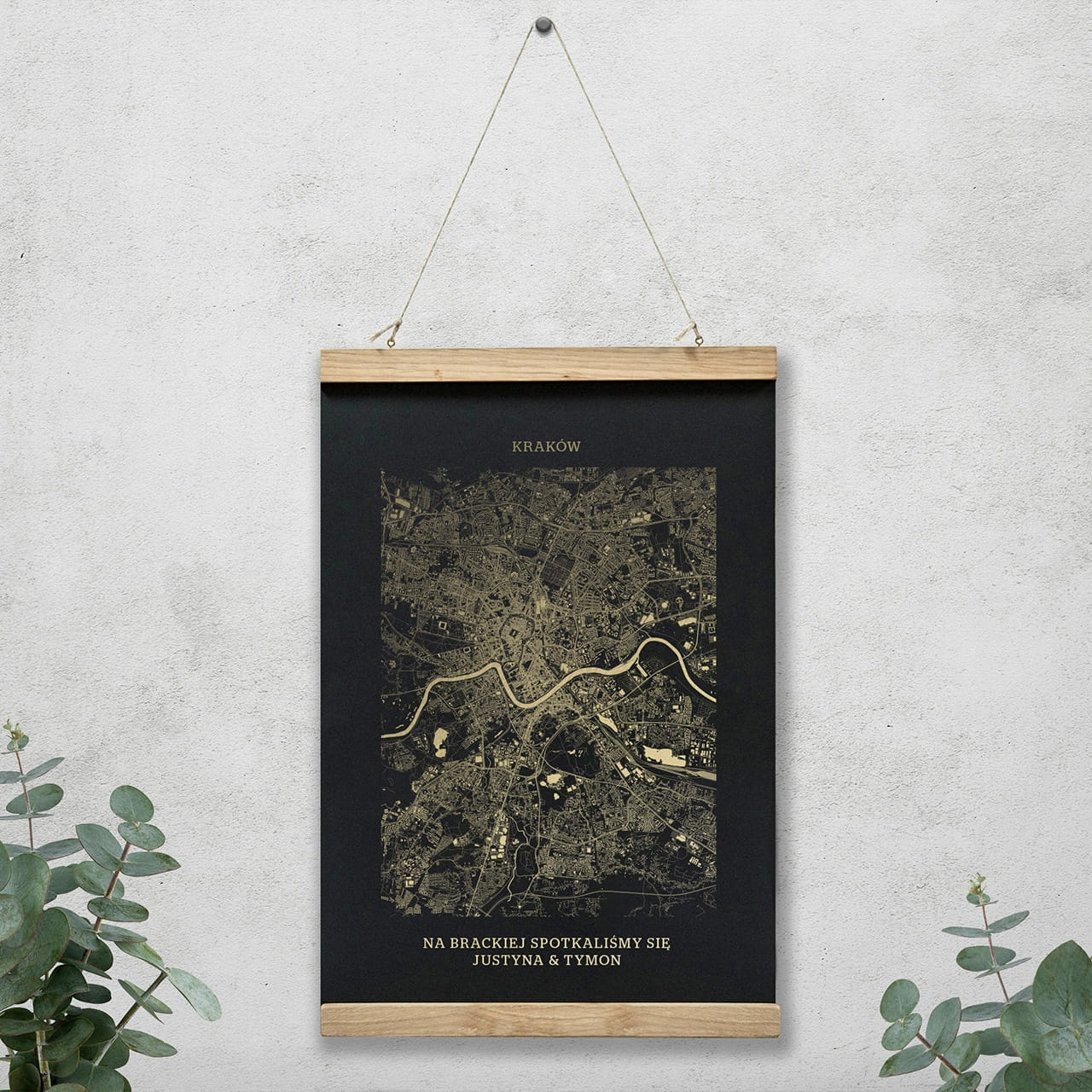 Plakat Mapa Krakow Czarny